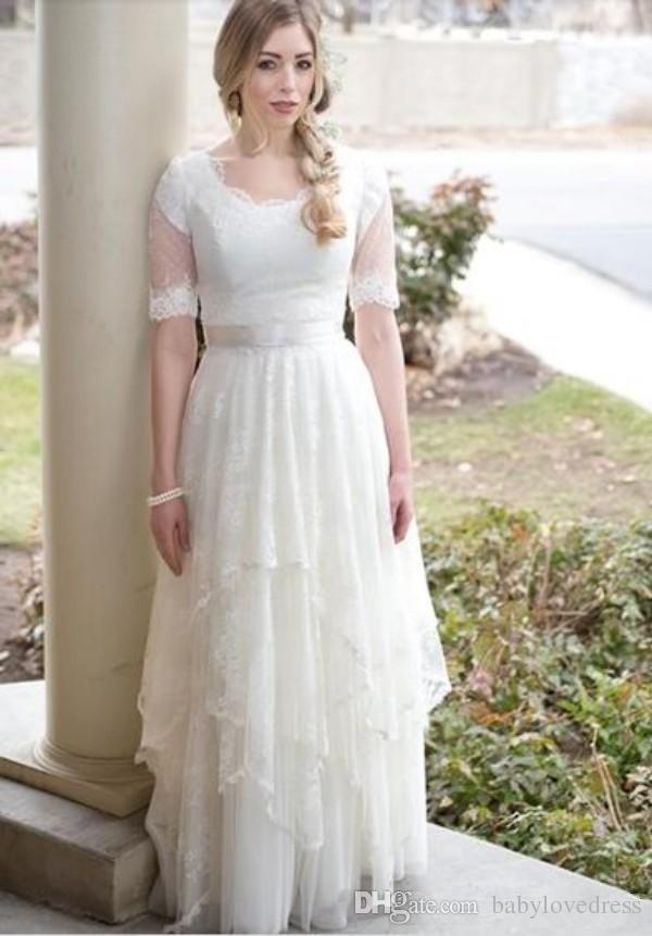 2018 Vintage Brautkleider mit kurzen Ärmeln schnüren zurück Vestidos de Novia asymmetrische lange bodenlangen Brautkleider
