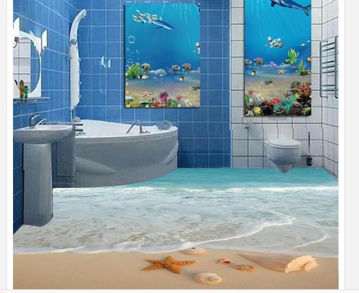 Waterproof Bathroom Walllpaper: Popular 3d Sandy Beach Sea Star Hocked Bathroom Floor