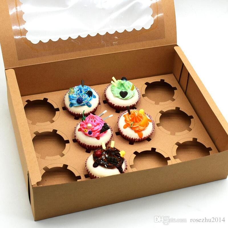 Window Cupcake Box with Insert Fits 12 Standard Size Cupcakes Clay Coated Kraft Paperboard, Insert Lock Corner Window Bakery Boxs
