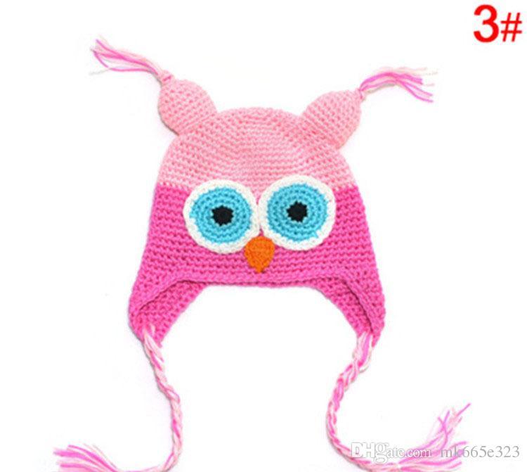 Cute Baby Hat Beanie Knit For Children Owl Cartoon Handcraft Crochet Woolen Warm Ears Hats Winter for 6M-3Y Toddler Boys Girls