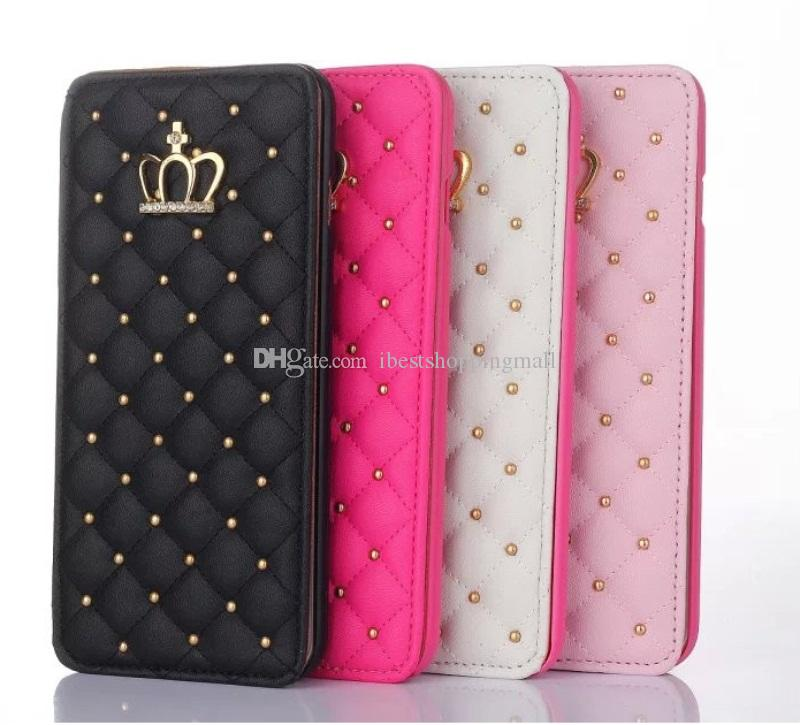 Rivet Glitter Diamond Crown Leather Wallet Case With Photo Frame Flip Cover For iPhone X 8 7 6S Plus Samsung S9 S8 Plus Note8 S7 edge
