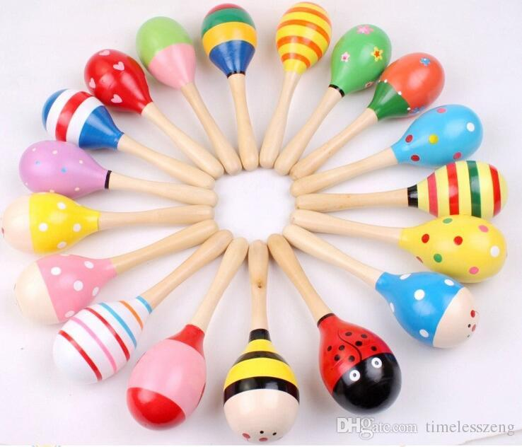 2015 0-12 month baby New Wooden Maraca Orff Rattles Kid Musical Party Favor Child Baby Shaker Toy