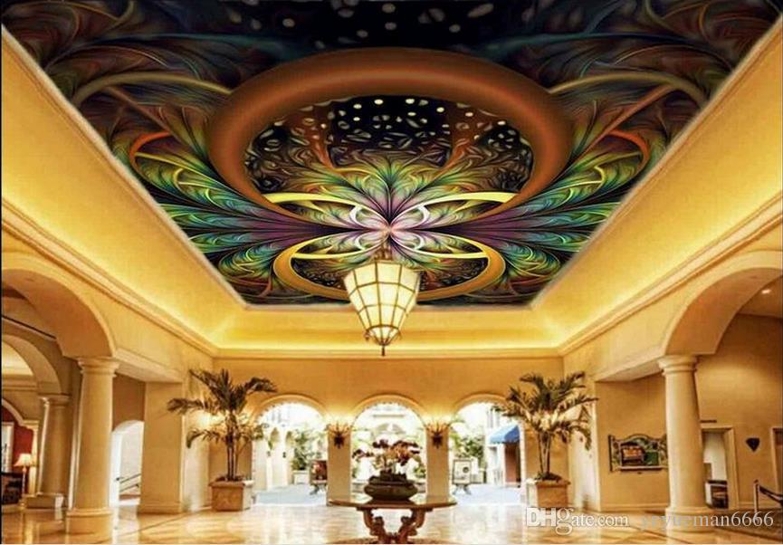 заказ 3d потолок Геометрические обои цветы 3d для потолков обои для гостиной 3d потолка