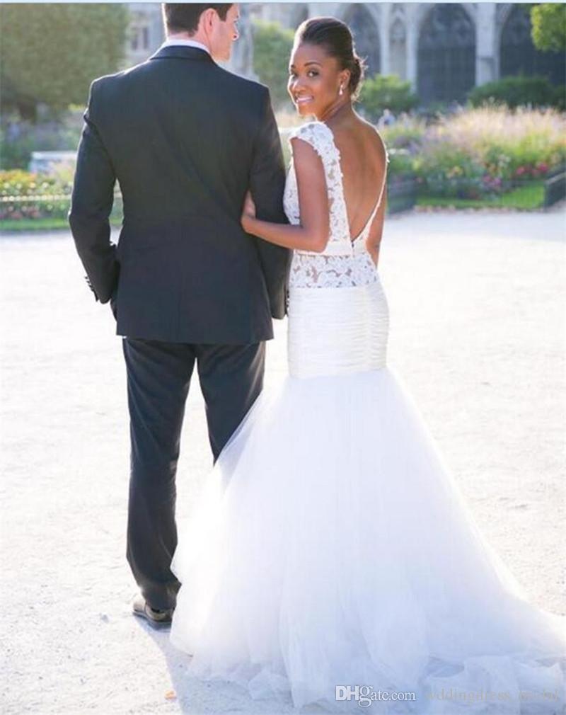 Vestidos De Casamento Africano 2019 Vestidos De Novia Sirena Branco Tule Sexy Backless Vestidos de Casamento Custom Made