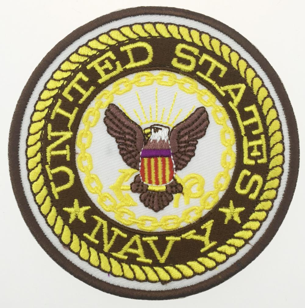 La lega militare del distintivo della zona del distintivo del ricamo del ferro ricamata militare USN ha ricamato il ferro del distintivo del distintivo della marina