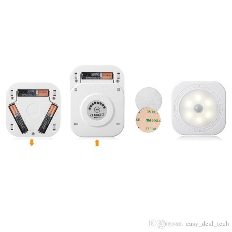 Intelligent Carré LED Nuit Lumière Corps Capteur Capteur Sens Lampe Lumière Cadeaux ZJ0505