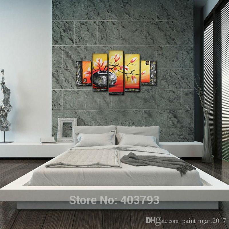 5 Teile / los Flasche Elegent Blumen Bild Malerei 100% Handgemalte Moderne Ölgemälde Auf Leinwand Wandkunst Dekoration