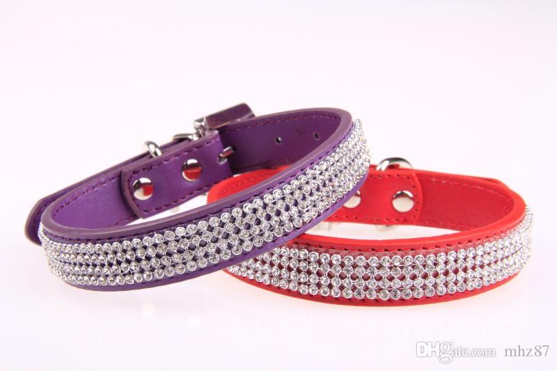 Lujo Hot Diamond Pet Dog Cat Collar de cuero Collar de cuello de diamantes de imitación para perro pequeño mediano Pet