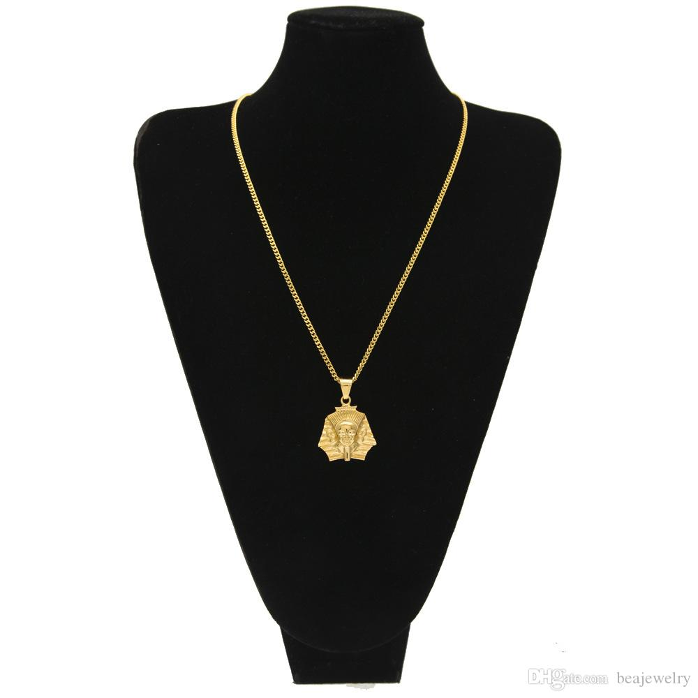 Fashion Gold Plated Ancient Egypt King Tut Pharaoh Pendant Necklace Cuban Chain Stainless Steel Men's Hip Hop Jewelry