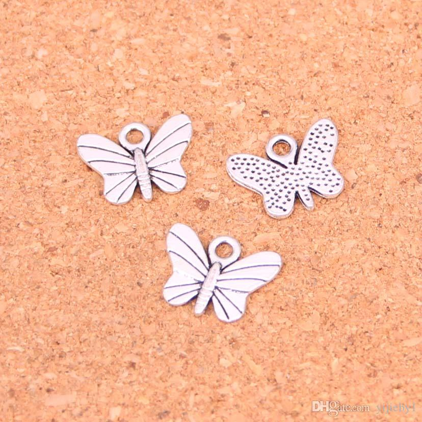 250pcs Antique silver Charms butterfly Pendant Fit Bracelets Necklace DIY Metal Jewelry Making 11*7mm