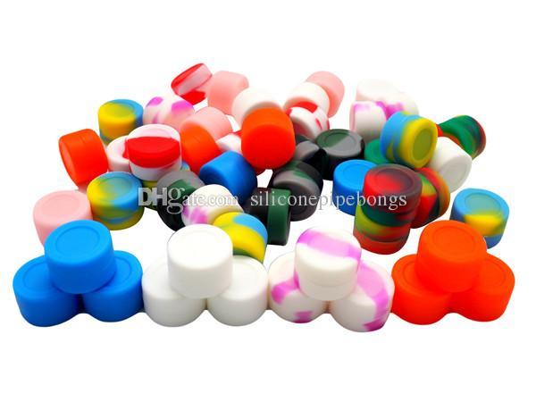 Stock à Los Angeles USA EXPÉDITION RAPIDE! / 2ml Multi couleurs récipients de silicone d'huile de pot de cire de silicone pour la cire