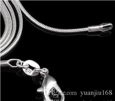Collana con catena a serpente in argento sterling 925 moschettoni da donna Catenaccio a catena liscia Gioielli di moda Taglia 1mm 16 18 20 22 24 pollici
