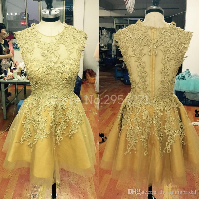 Cheap Gold Lace Applique Short Prom Dresses Robe De Soiree Ablove Knee Length Short Homecoming Dresses Party Evening Dress