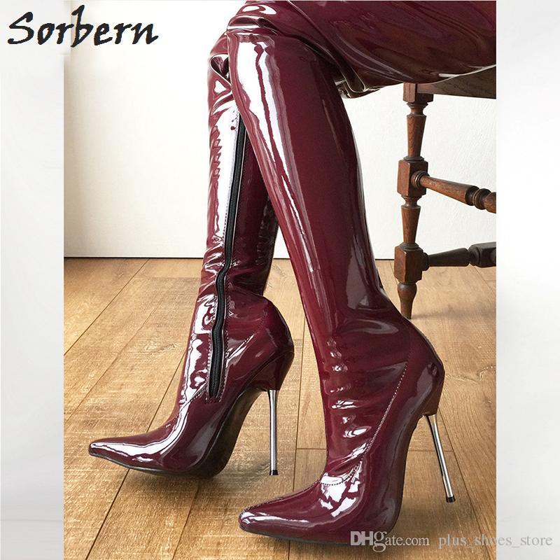 Sorbern Sexy Fetish Schuhe Unisex Lange Stiefel Extreme High Heel 12 cm Over-the-Knie Schritt Schuhe Shiny / Matte Patent PU Leder Oberschenkel Hohe Stiefel