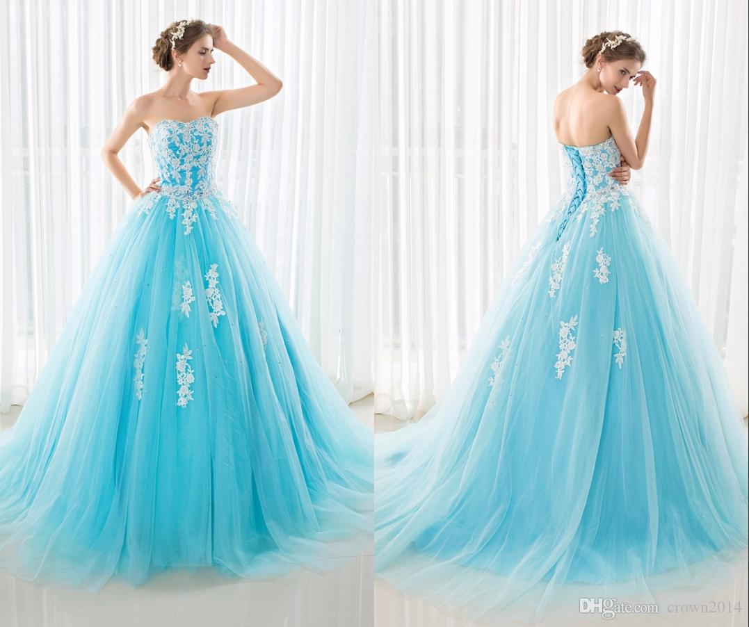 Discount 2019 Blue And White Wedding Dresses Ball Gown