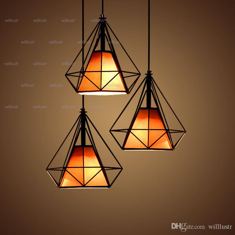 Willlustr Diamond Shape Lamp Wrought Iron Pendant Light