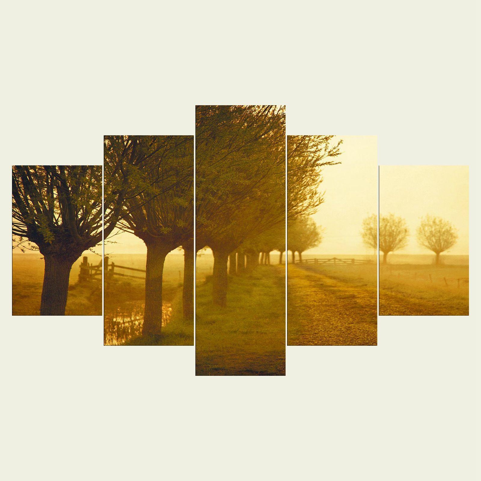 2018 No Frame The Trees Three Series Hd Canvas Print 5 Panel Wall ...