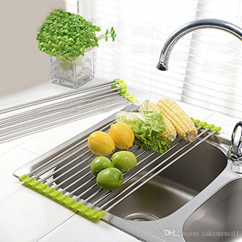 Easy To Use Foldable Kitchen Sink Rack Stainless Steel Dish Cutlery ...
