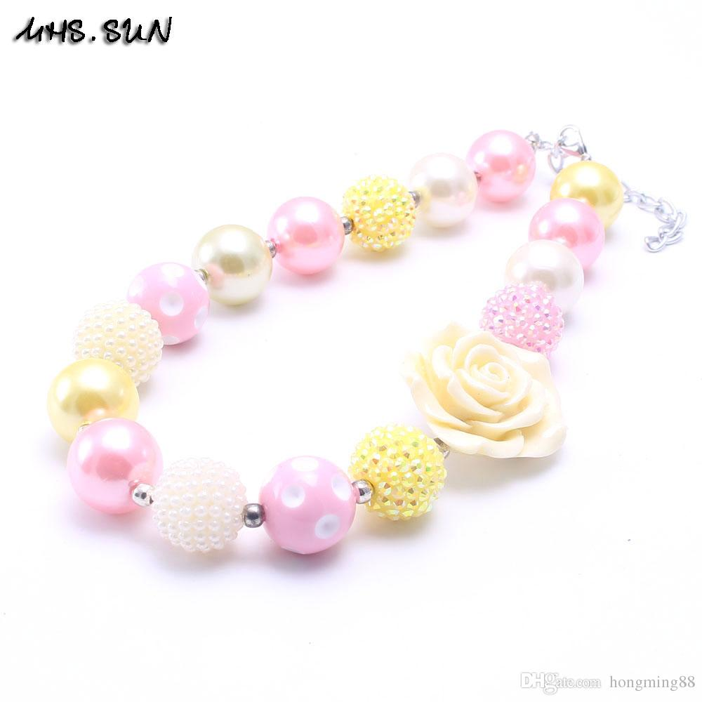 MHS.SUN Newest Design Fashion Flower Necklace Birthday Party Gift For Toddlers Girls Beaded Bubblegum Baby Kids Chunky Necklace Jewelry