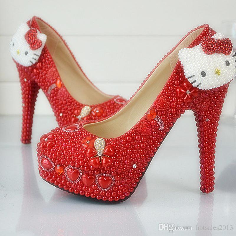 f71503638b5 New Design Handmade Red Wedding Shoes Hello Kitty Decoration Rhinestone  Bridal Dress Shoes Red Pearl Prom Party Pumps Plus Size