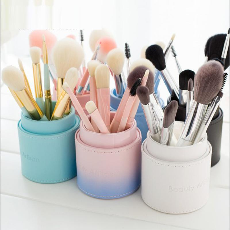 8pcs/set Cosmetics brush Set Travel Makeup Brushes High Quality Synthetic Hair wood Handle With Cylinder
