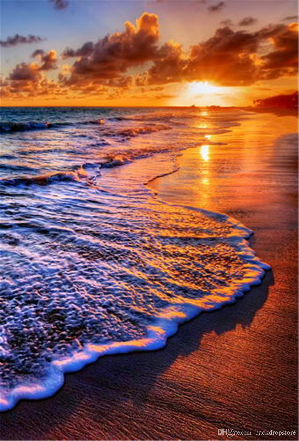 Mer Plein Romantique Backdrops De Paysages Paysage Soleil Magnifique En Photographie Bord Vagues Plage Nuages Air Mariage Couleur Coucher L35ARjq4Sc