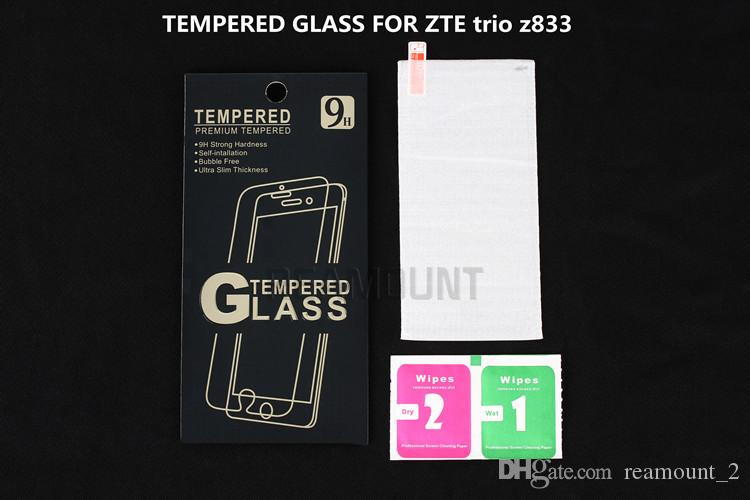 Gros verre trempé pour zte trio z833 protecteur d'écran pour zte trio z833 film de protection garde avant couverture + kits propres