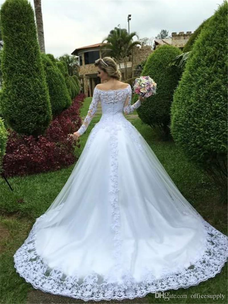 Princess White Applique Lace Wedding Dresses 2019 Elegant Long Sleeves Boat Neck A-Line Wedding Gowns Cheap Lace Bridal Dress