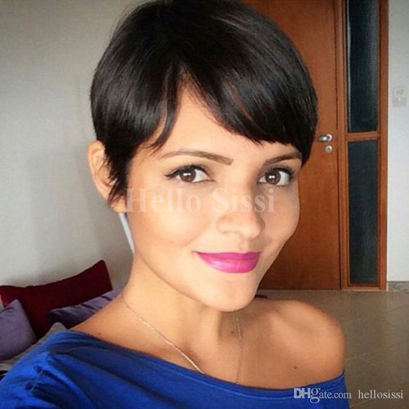 Perucas Femininas Sleek Afro Boy Cut Short Pixie Wigs For Black Women  Brazilian Virgin Hair American Wig With Bangs Drag Wigs Sensationnel Wigs  From ... 5ad749b80f