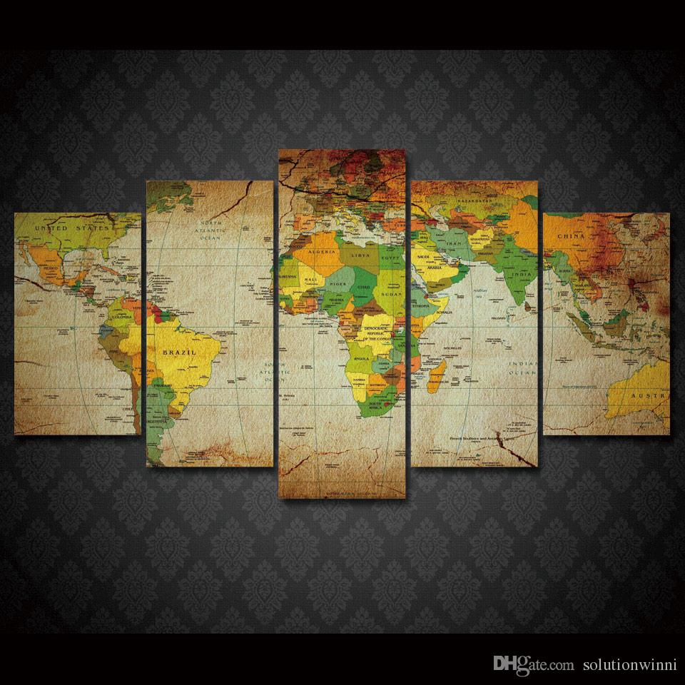 2017 framed hd printed old world map wall art canvas print poster 6 sciox Gallery
