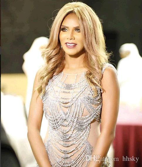 Robe de soirée Robe de soirée Labourjoisie Gaine Cristal Argent Yousef aljasmi Perles Murade Zuhair Robe longue Hind HB Glands Kim kardashian