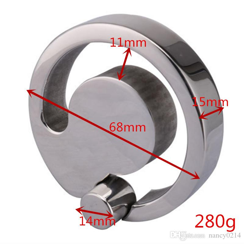 Ciondolo anello in acciaio inox 304 puro con pendente allungato a forma di uovo in acciaio inox con blocco blocco testicolo Fine Adulto B2-2-32