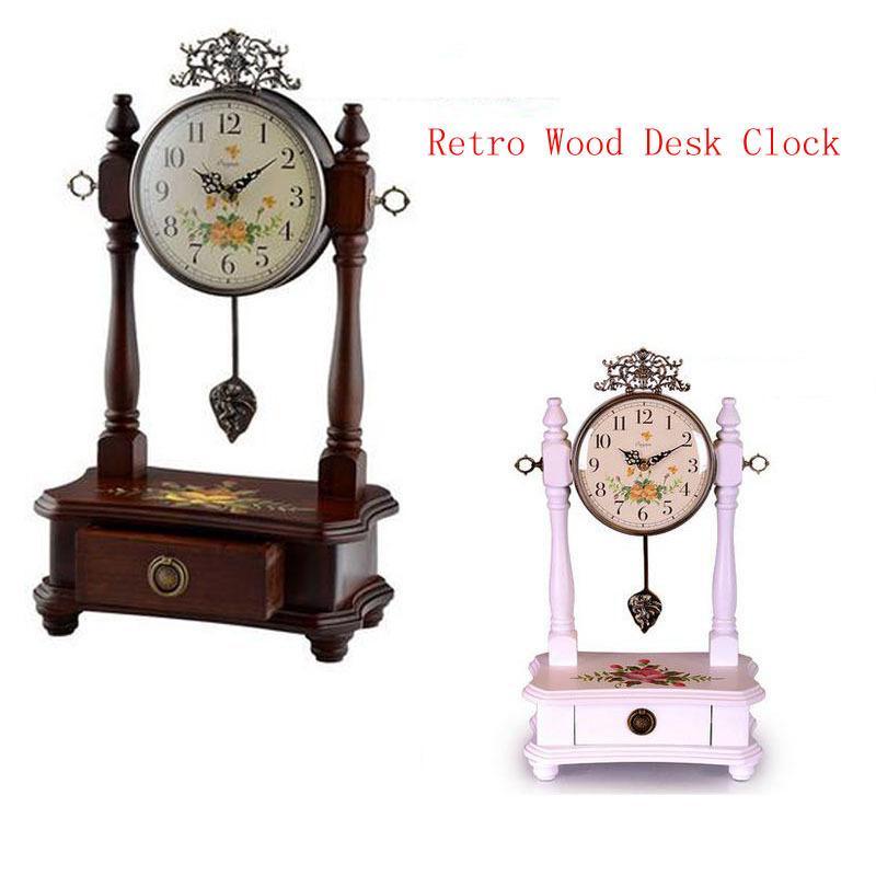 Wholesale Retro Wood Desk Clock For Wedding Gift Vintage Home Decor
