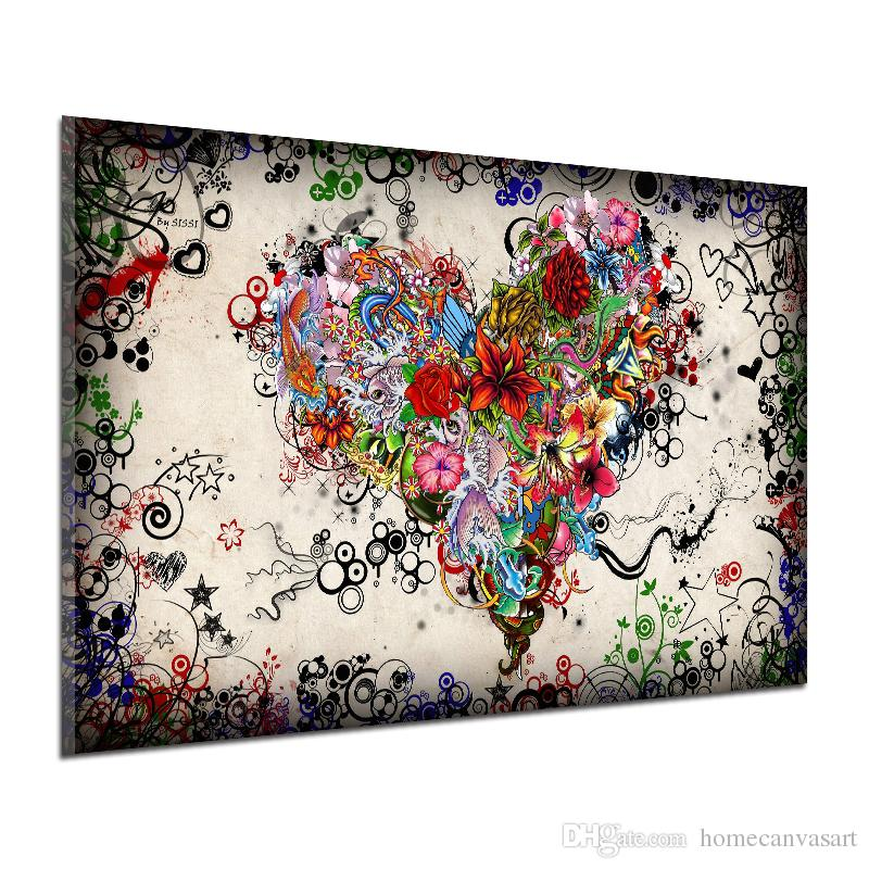 graffiti design abstract wall art heart flowers canvas prints