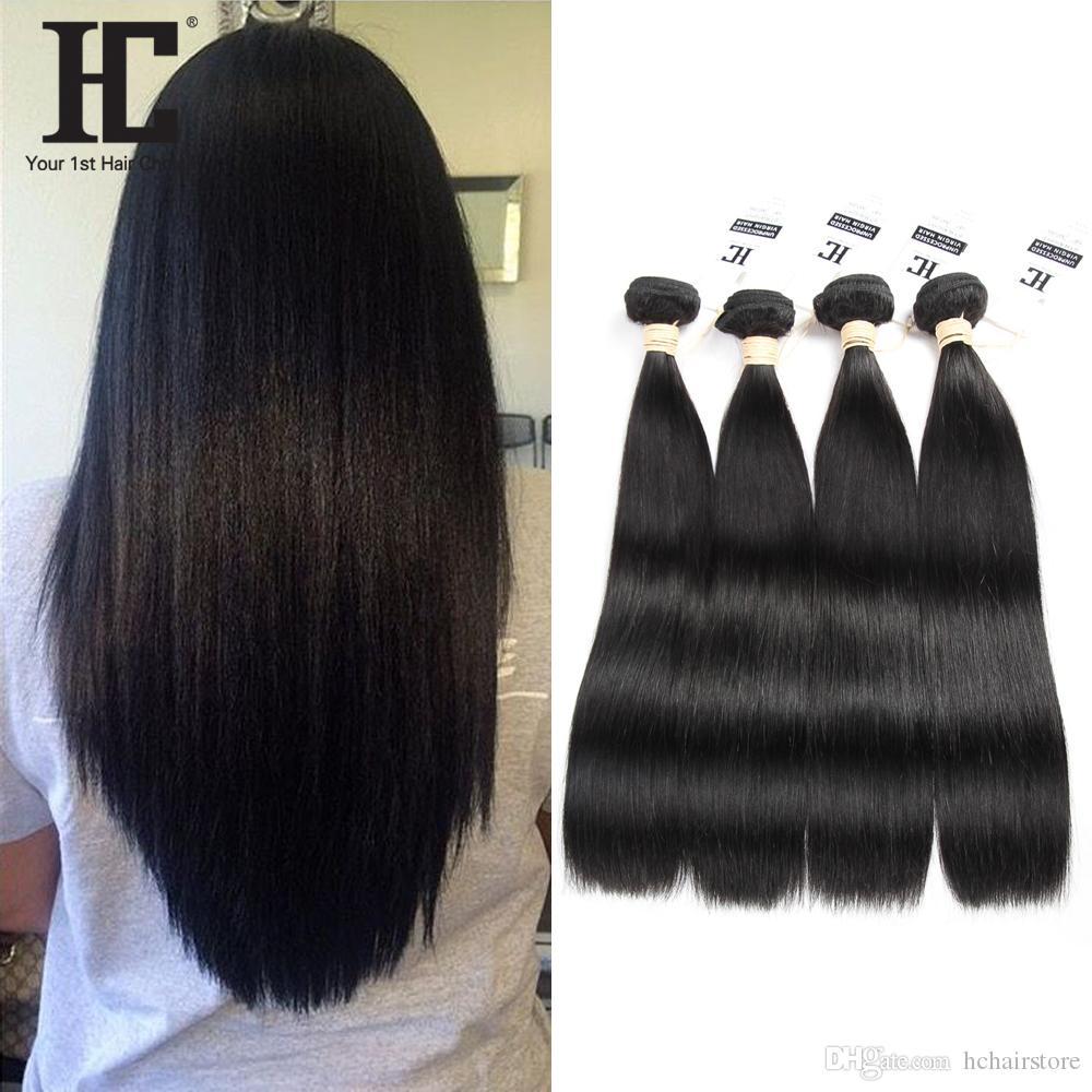 HC Hair Brazilian Virgin Human Hair Weave 4 Bundles Unprocessed Brazillian Peruvian Indian Malaysian Cambodian Straight Remy Hair Extensions