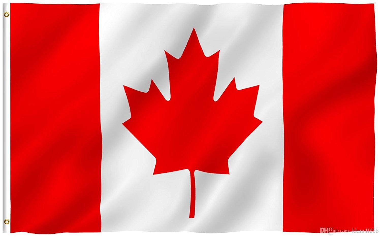 90x150cm Kanada-Flagge - Kräftige Farbe und UV-Beständigkeit - 100% Polyester Canadian National Garden Banner mit Messingösen