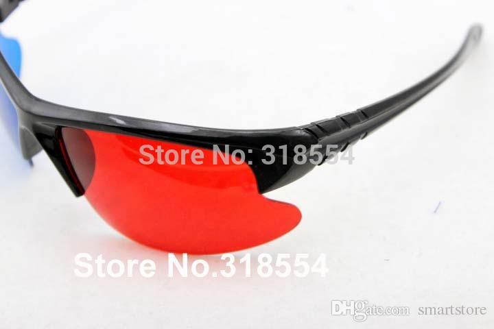 Di trasporto / elegante riutilizzabili telaio in plastica rosso blu ciano Occhiali 3D Mezza cornice di vetro dell'obiettivo 0001