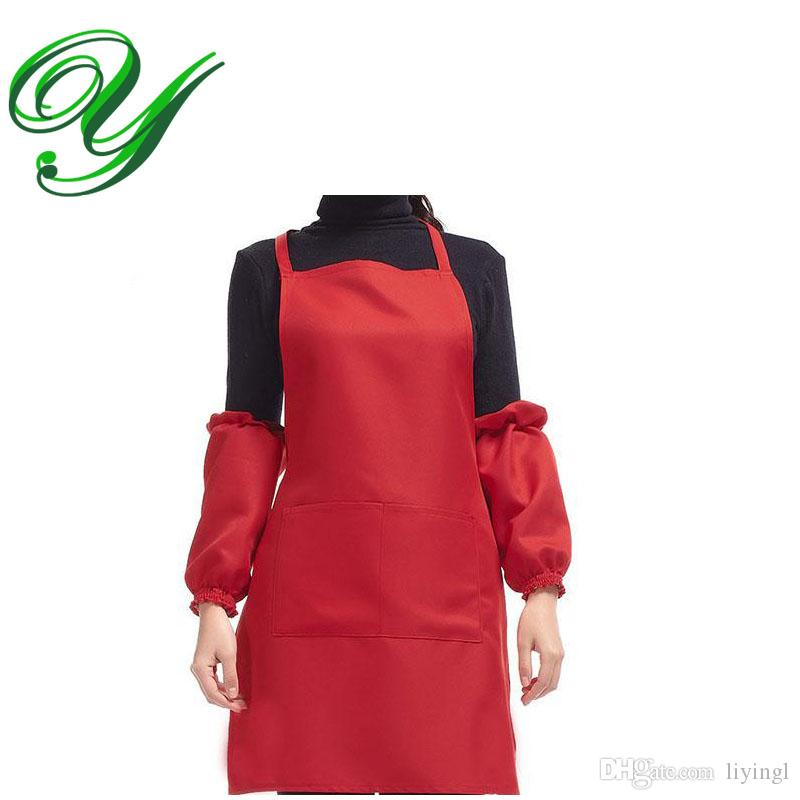 Aprons With Pockets Sleeves Chef Apron Kitchen Cooking Aprons Waitress  Server Pinafore Polyester Plain Color Garden