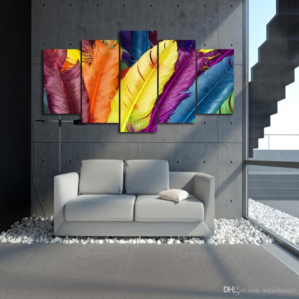 5 Paneli HD Baskılı Renkli Tüyler Tasarım Grubu Poster Resim Tuval Wall Art Painting Baskı Odası Dekor Boyama