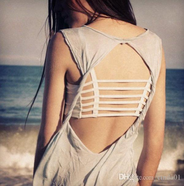 women clothing Women's Sexy Camisoles Bralette Caged Back Cut Out Strappy Padded Bra Bralet Vest Crop Top