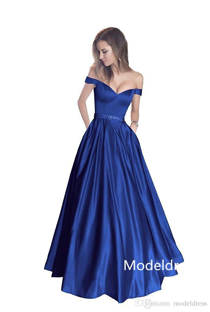 96af1649b2bd New Modest Cheap Prom Dresses 2017 Off Shoulder Beads Long Elastic Satin  Yellow Royal Blue Champagne Party Pageant Gowns Custom Made Modest Prom  Dress Neon ...