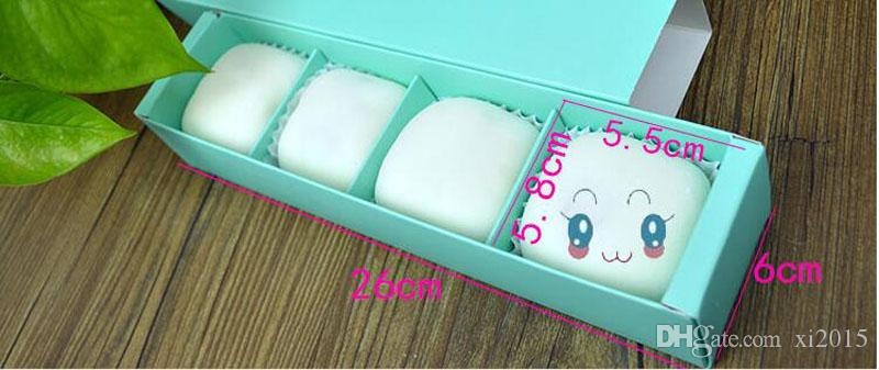 Solid Color 4 Grid Empty Macaron Box Bakery Box for Biscuits Cookie Mooncake Packaging Paper Gift Boxes wen4434