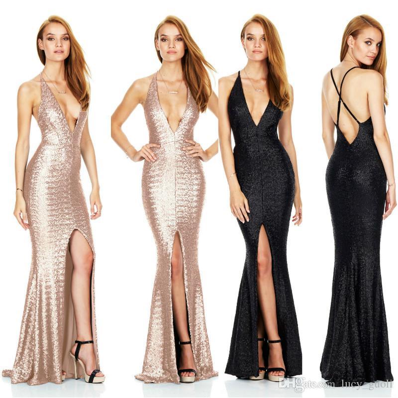 64c53b85b9c66 Sequin Maxi Dress Elegant Evening Paillette Robe Sexy high slit Bustier  Dress spaghetti strap v neck mermaid dresses Formal Evening Dresses
