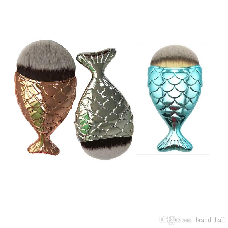 Mermaid fish oval brushes with cap Foundation Face Gold Cosmetics Blush Powder Makeup Sets