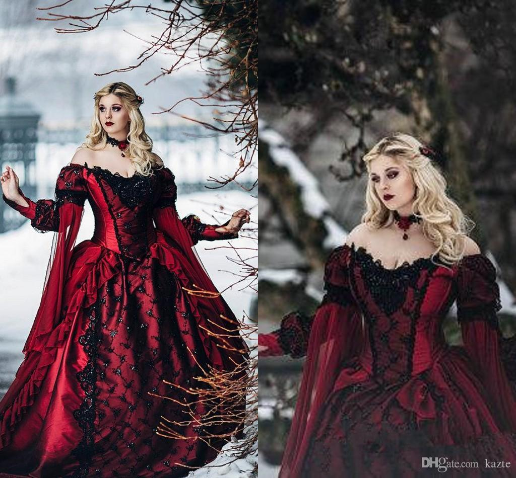 Gothic Sleeping Beauty Princess Medieval Red And Black Ball Gown ...