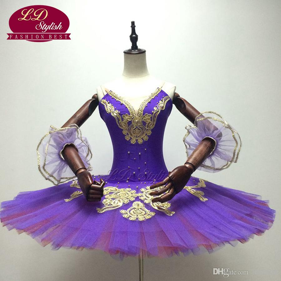 7589c5448 Women Purple Gold Professional Ballet Tutus Classical Ballet Stage  Performance Dance Tutu Costumes Ballerina Pancake Tutu Skirt LD0011