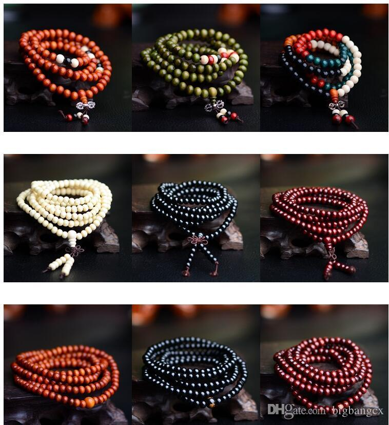 multicolor 6mm 8mm 108 sandalwood beads japa rosary prayer mala bracelet Tibetan Buddhist meditation beads Bracelet