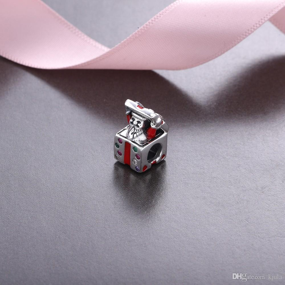 Christmas Gift WInter New 925 Sterling Silver Magic Box Charms Beads Fits Pandora Bracelet Gift Box Bead For DIY Jewelry Marking