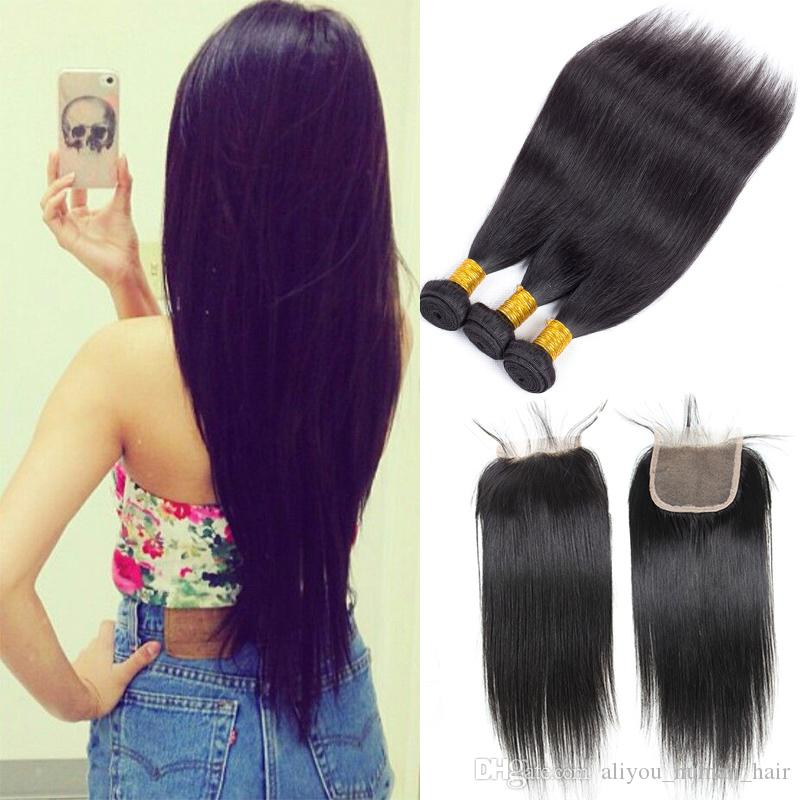 Brazilian Body Wave Hair Weaves 3 Bundles with Closure Malaysian Indian Cambodian Straight Peruvian Hair with Lace Frontal Remy Human Hair