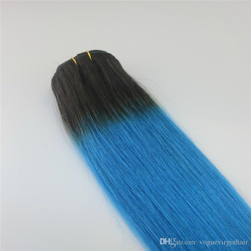 1b mavi İnsan Saç Uzantıları Ombre Klip 7 Adet İnsan Saç Uzantıları Klip Klip Saç Klipleri ins